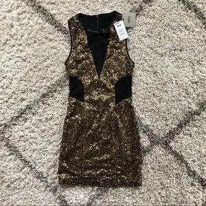ASOS Gold Sequins Black Cutout Glam Mini Dress